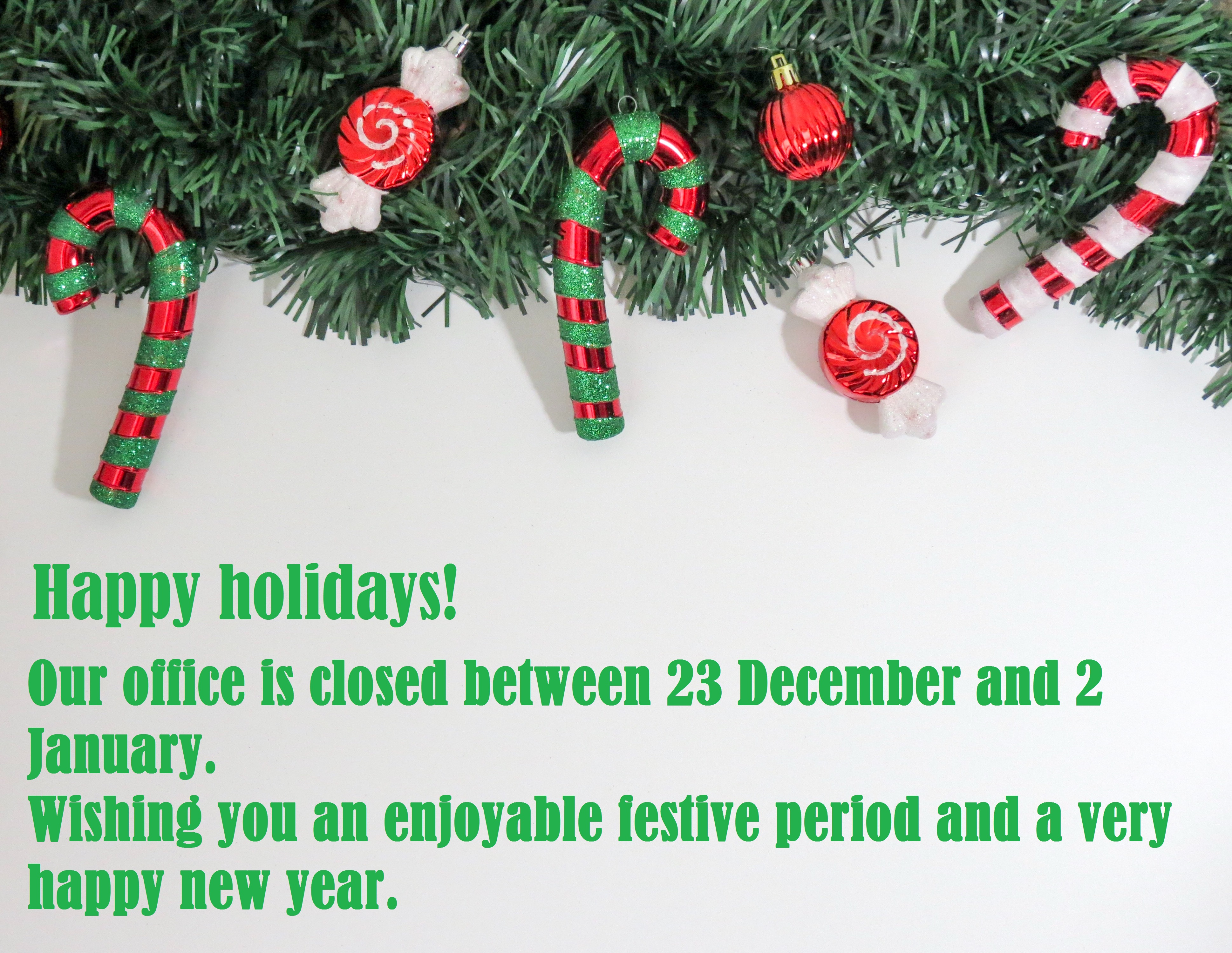 Office closure for Christmas